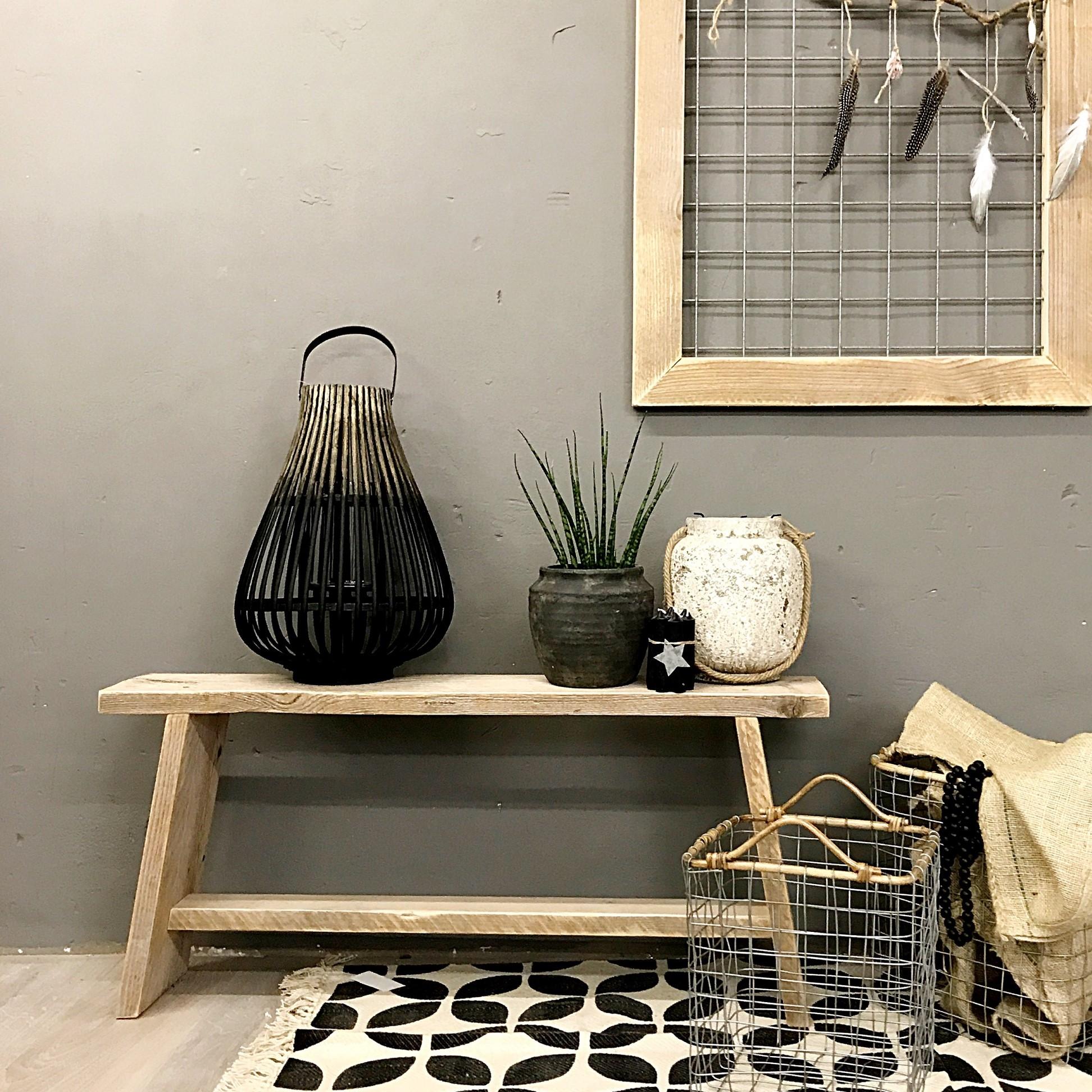 Bankje 39 trend 39 20 handgemaakte steigerhouten meubel de for Decoratie bankje