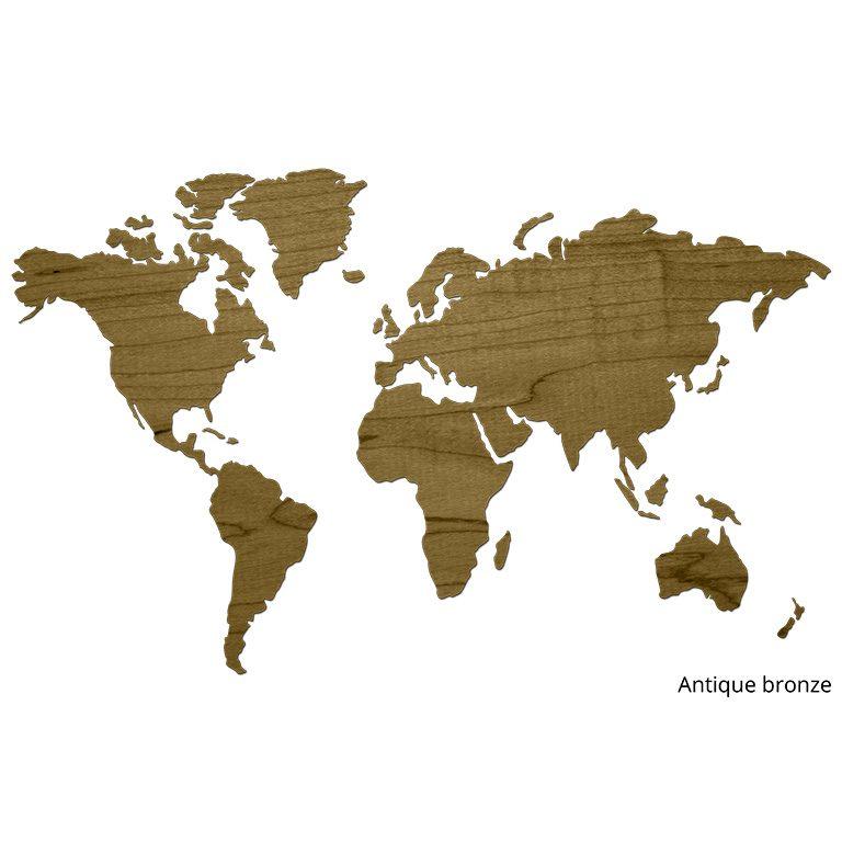 Wereldkaart van hout antique bronze