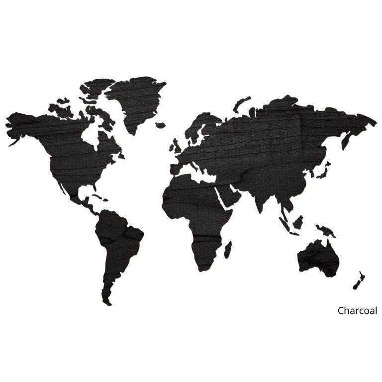 Wereldkaart van hout Charcoal