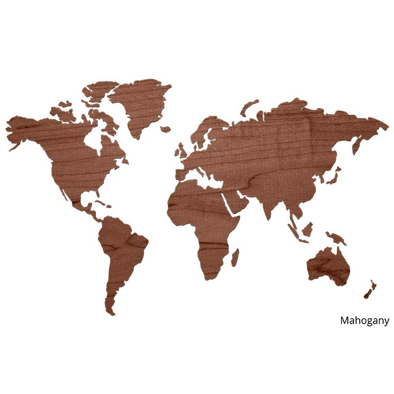 Wereldkaart van hout Mahogany