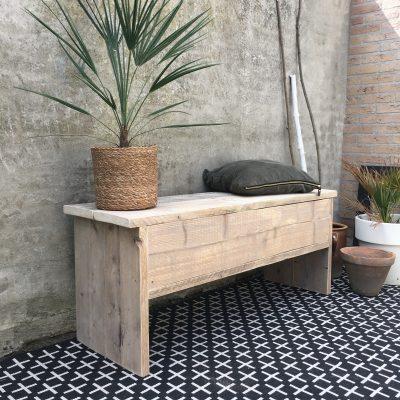 houten opbergbankje