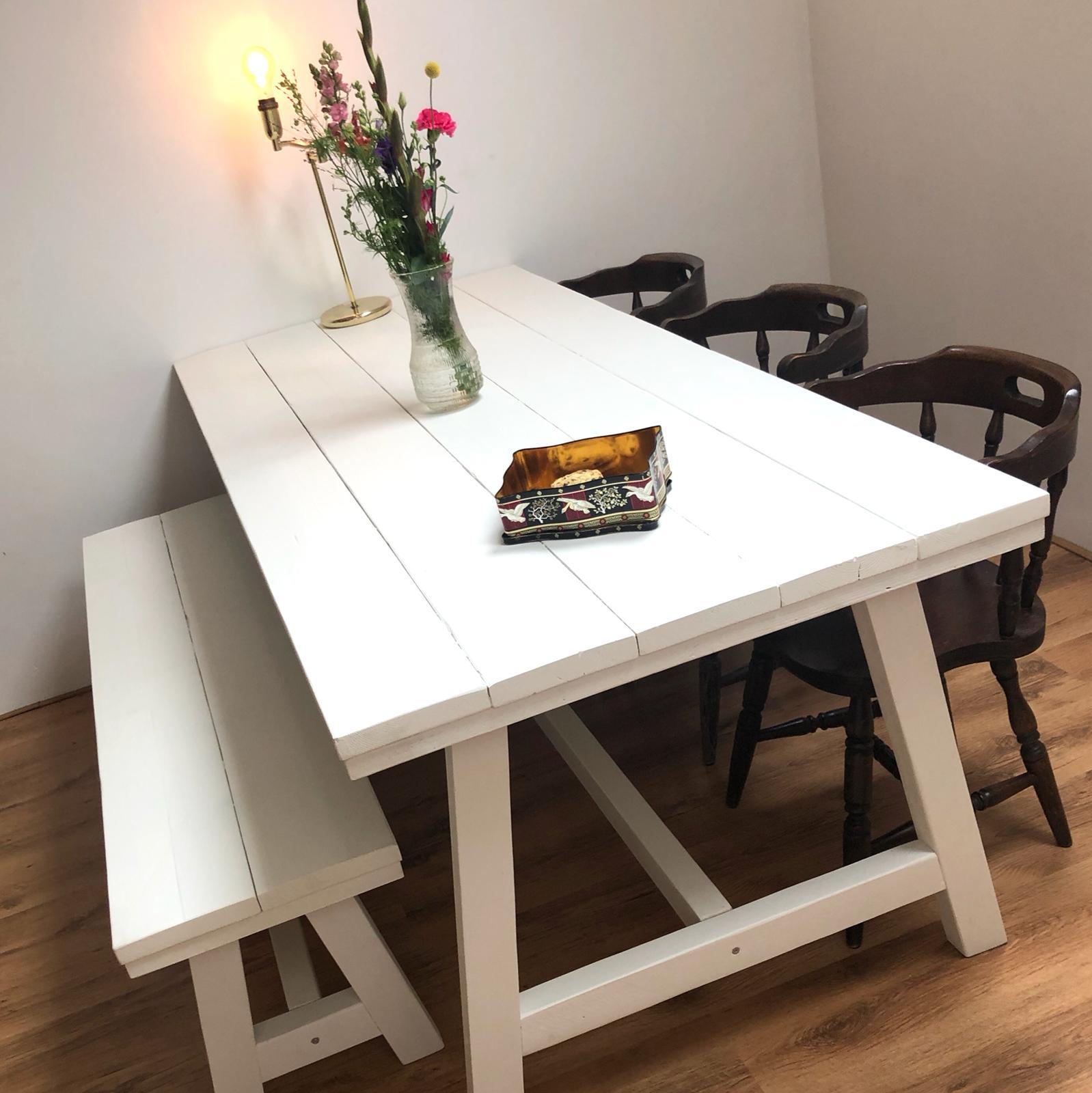 Welp Witte eettafel van steigerhout, krijtverf, houten tafel wit YJ-14